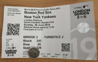 2019 New York Yankees vs Red Sox ticket stub London