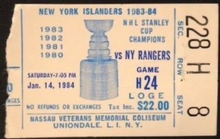 Mike Bossy 400th Career Goal Ticket Stub