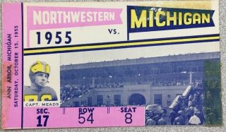 1955 NCAAF Michigan ticket stub vs Northwestern 25