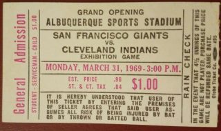 1969 SF Giants vs Cleveland Indians ticket stub at Albuquerque