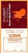 1979 NCAAF Virginia Tech ticket stub vs Clemson