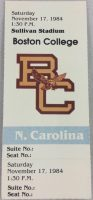 1984 NCAAF Boston College ticket stub vs North Carolina