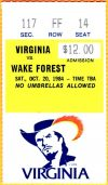 1984 NCAAF Virginia ticket stub vs Wake Forest