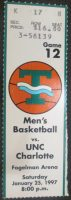 1997 NCAAMB Tulane Green Wave ticket stub vs UNC Charlotte