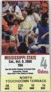 2005 NCAAF Florida Gators ticket stub vs Mississippi State
