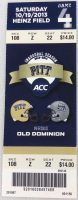 2013 NCAAF Pitt Panthers ticket stub vs Old Dominion