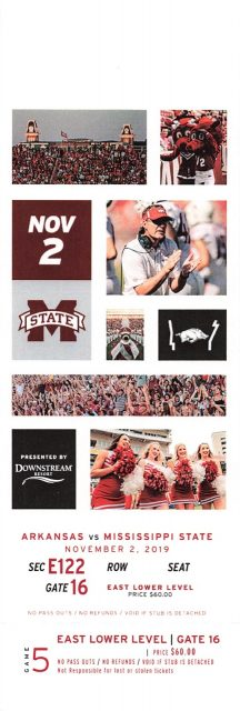 2019 NCAAF Arkansas ticket stub vs Mississippi State