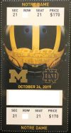 2019 NCAAF Michigan Wolverines ticket stub vs Notre Dame