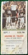 1985 NCAAF Arizona Wildcats ticket stub vs Toledo