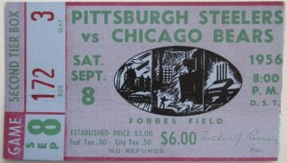 1956 NFL Forbes Field Pittsburgh Steelers vs Chicago Bears ticket stub