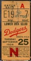 1956 Sal Maglie No Hitter ticket stub