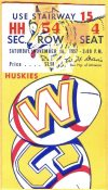 1957 NCAAF California Bears ticket stub vs Washington