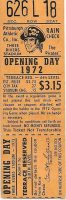 1972 Pirates Opening Day ticket stub