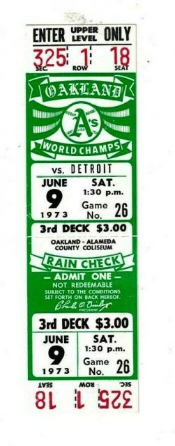 1973 Oakland Athletics ticket stub vs Detroit