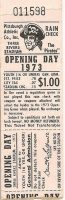 1973 Pirates Opening Day ticket stub
