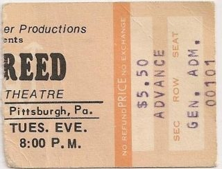 1974 Lou Reed Hall and Oates ticket stub Pittsburgh