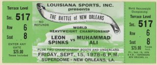 1978 Spinks Ali Boxing ticket stub New Orleans