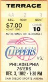1982 San Diego Clippers ticket stub vs 76ers