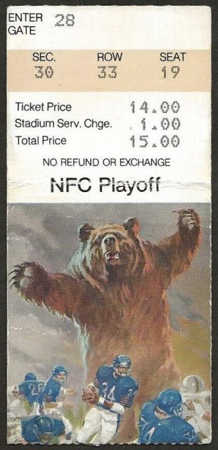 1985 NFC Divisional Game ticket stub Bears vs Giants