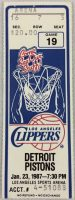 1987 Los Angeles Clippers ticket stub vs Pistons