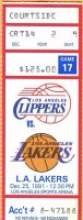 1991 Los Angeles Clippers ticket stub vs Lakers