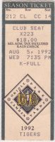 1992 Baltimore Orioles ticket stub vs Detroit