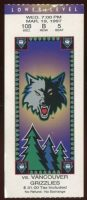1996 Minnesota Timberwolves ticket stub vs Grizzlies