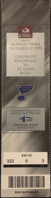 1999 Joe Sakic 1000th Point Ticket Stub