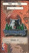 1999 Minnesota Timberwolves ticket stub vs Grizzlies