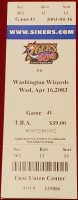 2003 Michael Jordan final game ticket stub