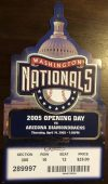 2005 Washington Nationals ticket stub vs Diamondbacks