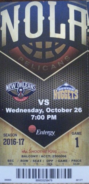 2016 New Orleans Pelicans ticket stub vs Nuggets