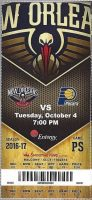 2016 New Orleans Pelicans ticket stub vs Pacers