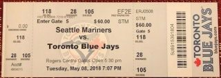 2018 James Paxton no hitter ticket stub