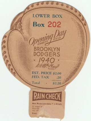 1940 Brooklyn Dodgers Opening Day Ticket Stub