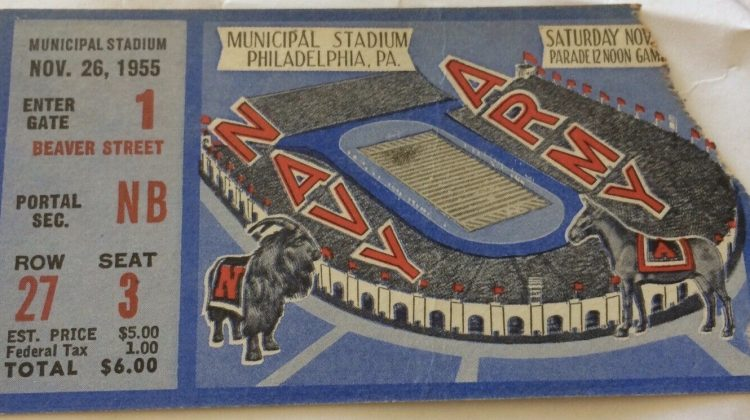 1955 NCAAF Army vs Navy Ticket Stub