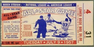 1957 MLB All Star Game Ticket Stub St Louis