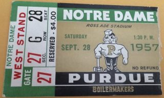 1957 NCAAF Purdue Boilermakers ticket stub vs Notre Dame
