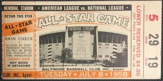 1958 MLB All Star Game Ticket Baltimore