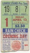1962 Mets inaugural home game ticket stub