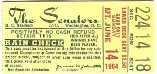 1964 Washington Senators Ticket Stub Killebrew 2 HR