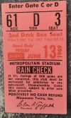 1969 Minnesota Twins Ticket Stub Killebrew HR