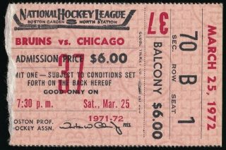 1972 Bobby Hull 600th Goal Ticket Stub