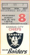 1972 Oakland Raiders ticket stubs vs Chiefs