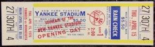 1976 New York Yankees Opening Day Ticket