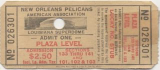 1977 New Orleans Pelicans ticket Superdome