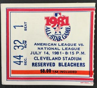 1981 MLB All Star Game ticket stub Cleveland