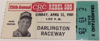 1981 Rebel 500 ticket stub Darrell Waltrip