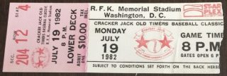 1982 Cracker Jack Old Timers Classic baseball ticket stub