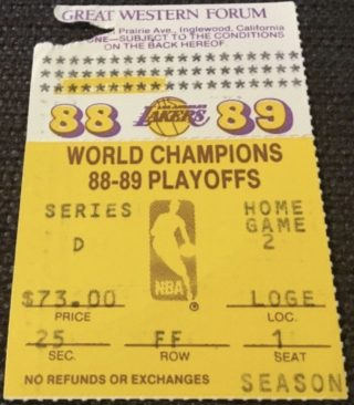 1989 NBA Finals Game 4 ticket stub Lakers vs Pistons